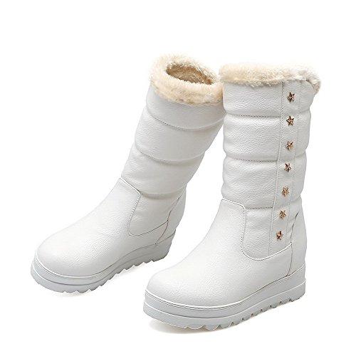 AgooLar Damen Niedrig-Spitze Ziehen Auf Mittler Absatz Rund Zehe Stiefel mit Rivet Set Weiß
