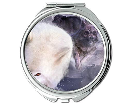 Yanteng Spiegel, Kleiner Spiegel, Taschenlampe mit Animal Wolf Light, 1 X 2X Vergrößerung
