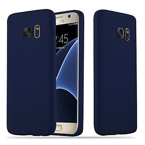 Cadorabo Hülle für Samsung Galaxy S7 - Hülle in Candy DUNKEL BLAU – Handyhülle Schutzhülle aus TPU Silikon im Candy Design - Ultra Slim Soft Back Cover Case Bumper