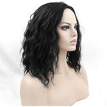 BMDHA Perruque Cheveux BoucléS Courts Cuir Chevelu D'éMulation Usage Quotidien / Cosplay, Noir / Marron Jaune