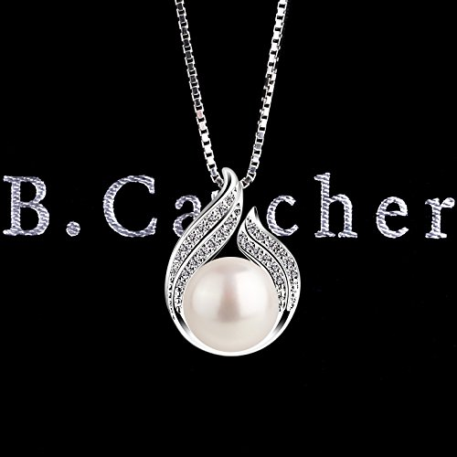 """B.Catcher Pearl Necklace Freshwater Bud 925 Sterling Silver """"Hug with Pearl k5psX"""