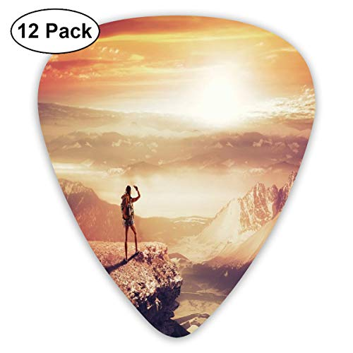 Guitar Picks - Abstract Art Colorful Designs,Traveler Woman With Backpack On Mountain Surveying Sunset Adventure Photo Print,Unique Guitar Gift,For Bass Electric & Acoustic Guitars-12 Pack