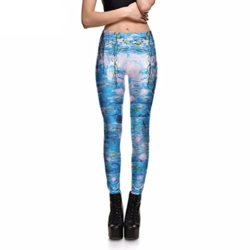 Print Fitness Leggings Oil Painting Pond Lotus Ting Pants Trousers Size S-4Xl