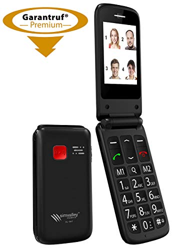 Simvalley Mobile Klapphandy: Notruf-Klapp-Handy XL-947 m. Garantruf Premium, Dual-SIM, 6-cm-Display (Senior Phone)
