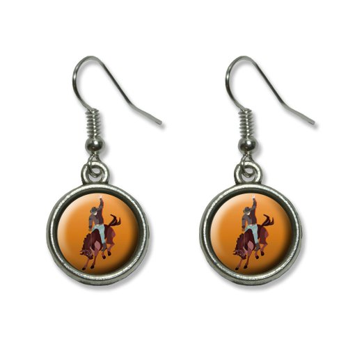 Rodeo Cowboy Orange – Western Pferd Country Neuheit Dangling baumeln Drop Charm-Ohrringe (Country-western-rodeo)