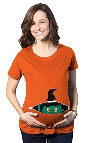 Crazy Dog TShirts - Maternity Peeking Green Witch Funny Halloween Pregnancy Announcement T shirt (Orange) L - damen - L (Bump Schwangerschaft Kostüm)