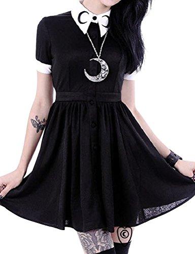 Nlife Frauen Print Gothic Punk Langarm Hoodies Plus Größe S-5XL (3XL, Dress)