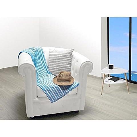 Soleil d'ocre Cotonnade Plaid Cotonnade Polyester Coton Bleu Turquoise 130