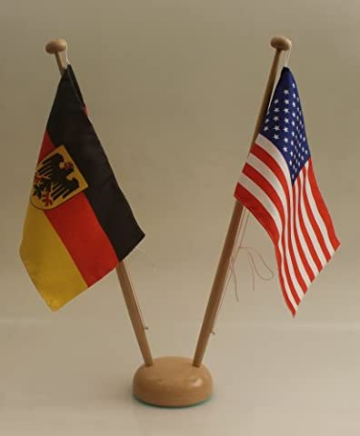 Table Flag Stand Wood Dual Height Approximately 42 cm. Stand for 25x15 cm Tischflaggen, Top