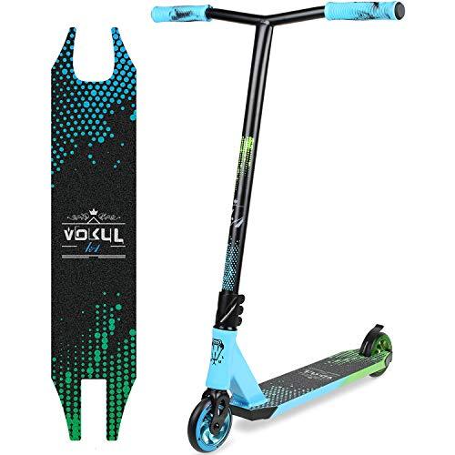 VOKUL BZIT K1 Pro Stunt Scooter - Freestyle Tretroller mit 110mm PU Wheels, Erwachsene & Kinder (Grün&Blau) (Scooter Pro Vokul)