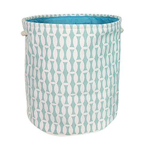 Fieans Groß Wäschekorb Wäschesammler Canvas Rund Aufbewahrungsbox Faltbare Organizer Korb mit Griffen - Geometrischem Muster/Blau -