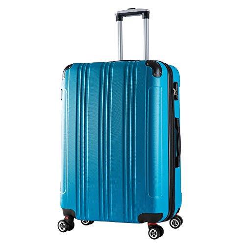 WOLTU RK4207ts, Reise Koffer Trolley Hartschale Volumen erweiterbar, Reisekoffer Hartschalenkoffer 4 Rollen, M/L/XL/Set, leicht und günstig, Türkis (XL, 76 cm & 110 Liter)