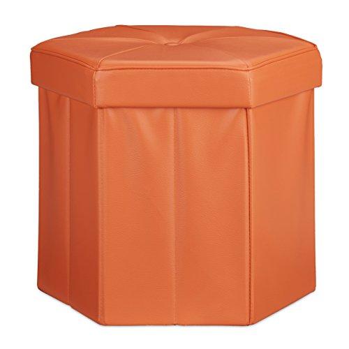 Relaxdays Faltbarer Sitzhocker sechseckig mit Stauraum und Deckel zum Abnehmen HBT: 38 x 42 x 42 cm Sitzwürfel aus Kunstleder Hocker zum Falten und Verstauen Sitzbank und Sitzgelegenheit, orange