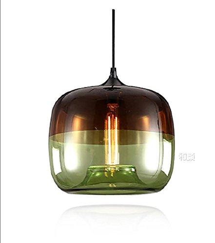 QMMCK Handgefertigte Pendelleuchte Hängeleuchte Farbe Glas Lampenschirm Grün/Blau E27 Lampe Green