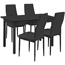 encasa conjunto de comedor mesa negra xcm con