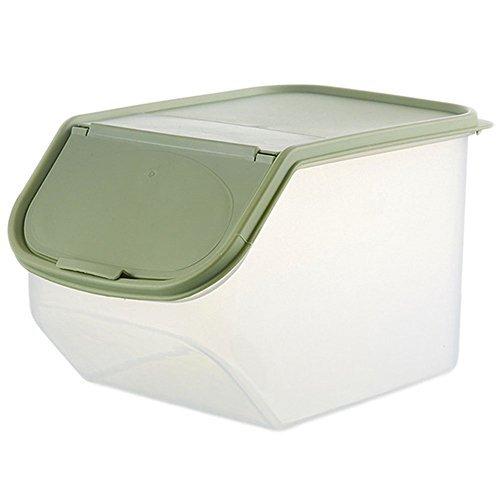 LAAT Klapp Reis Aufbewahrungsbox Bulk Lagerkästen Trockenfutter Müsli Container verdeckt verschiedene Körnungen Snack Kunststoff-Aufbewahrungsbox Wanne, Green, S (Bulk Lebensmittel-lagerung-container)