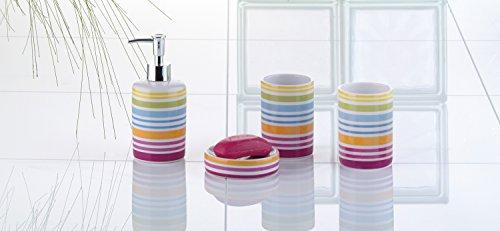 Bad-Set Keramik 4-teilig Seifenspender Seifenschale Bad Zahnputzbecher -