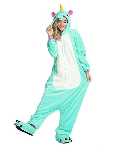 LATH.Pin® Jumpsuit Unisex animale cartone Carnevale costumi di Halloween Jumpsuit tuta pigiama in pile pigiama adulti Lounge Hellgrün Pferd