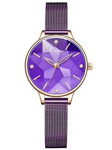 Alienwork Montre Femme Bracelet Maille milanaise Acier Inoxydable Violette Analogique Quartz Or Rose Imperméable Classique élégant