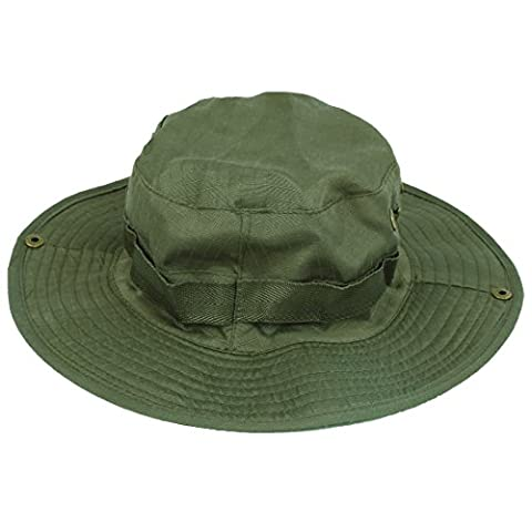 TOOGOO(R) Outdoor Fishing Camping Hiking Sun Cap Round Rim Men Women Hat(dark green)