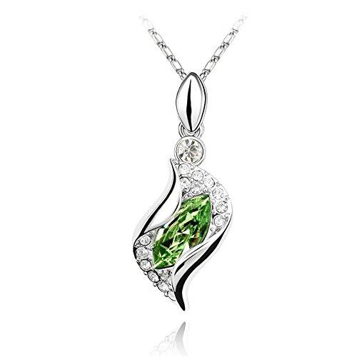 Collier océan cristal swarovski elements plaqué or blanc Vert
