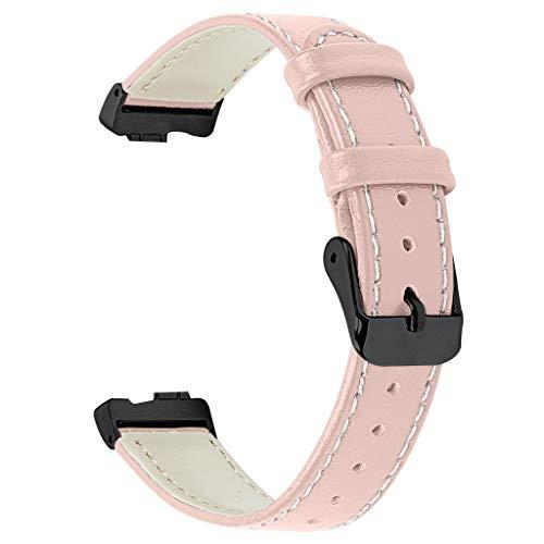 Yncc Leder Uhrenarmband Aus Leder, Für Fitbit Inspire/Inspire HR Watch Band Für Damen&Herren SchwarzesTaste T-förmiges Schweißfester Zweikanaliger Silikon-Wellenoberfläche 22mm/Leder (PK)