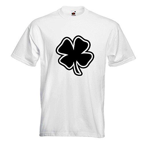 KIWISTAR - Kleeblatt - Glück T-Shirt in 15 verschiedenen Farben - Herren Funshirt bedruckt Design Sprüche Spruch Motive Oberteil Baumwolle Print Größe S M L XL XXL Weiß