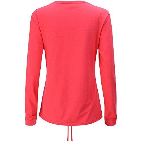 Camicia Donna Elegante Invernali Maglie A Manica Lunga V Profondo Con Coulisse Camicie Puro Colore T Shirt Blusa Divertenti Perfect Casuale Slim Tops Maglietta Rossi