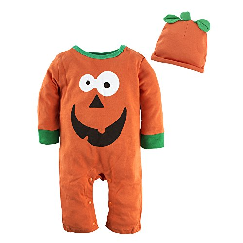 BIG ELEPHANT Baby Jungen'2 Stück Halloween Kürbis Langarm Spielanzug Pyjama Bodysuit mit Hut (Halloween Spieler Kostüm Mädchen Für Fußball)