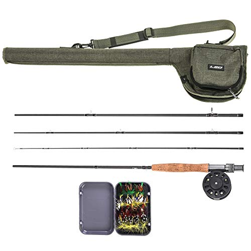 Lixada 9 \'Fly Angelrute und Reel Combo mit Tragetasche 20 Fliegen Komplettes Starterpaket Fly Fishing Kit