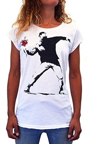 Banksy Flower Thrower Faces T-Shirt Damen Made IN Italy Street Art Handserigraphie mit Wasser. (S Damen) -