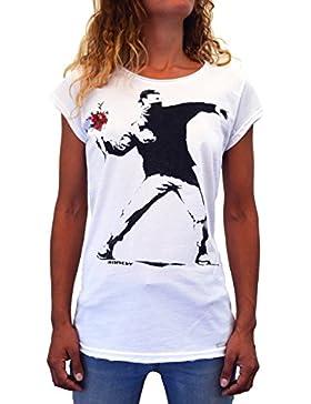 Banksy Flower Thrower Faces T-Shirt Mujer Made In Italy Impresión del Manual de La Pantalla de Agua