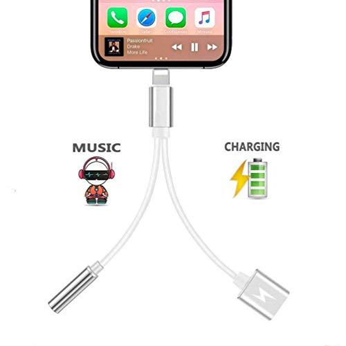 Kopfhörer Adapter für Phone 8/8Plus X 2 in 1 Beleuchtungsbuchse auf 3,5 mm Kopfhörer-Adapter für iPhone AUX-Konverter für KopfhörerbuchseSplitterkabel, kompatibel mit iOS 10.3/11.4, silberfarben - 4