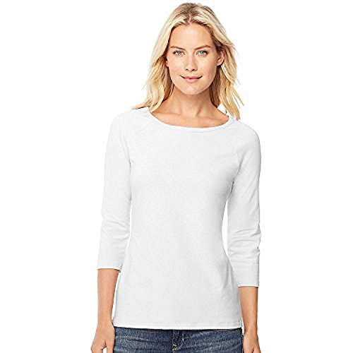 Hanes Stretch Cotton Women's Raglan Sleeve Tee_White_L