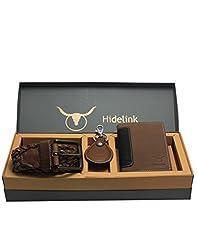 Hidelink Genuine Leather Gift Pack for Men - Belt, Wallet, & Keyring