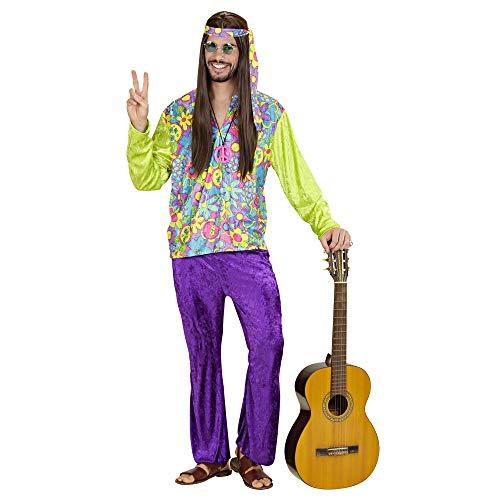 WIDMANN 35413 - Erwachsene Kostüm Hippie Boy, Hemd, Hose und Stirnband, L