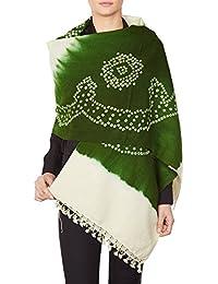 Vert châle crème tribale pour les femmes, Cadeaux Tie-Dye cadeaux de mariage laine à la main 36 x 80 pouces indiennes
