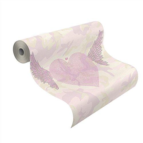 Rasch Tapeten 492576 Roberto Geissini Vlies-Tapete, geflügelte Herzen vor Camouflage in rosa und grau Tönen, Rosa, Lila, Grau, Weiß (Camouflage Herz)