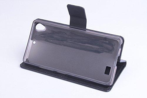 Baiwei Pu Leder Kunstleder Flip Cover Tasche Handyhülle Case für Kazam Tornado 348 (Schwarz mit Halter)