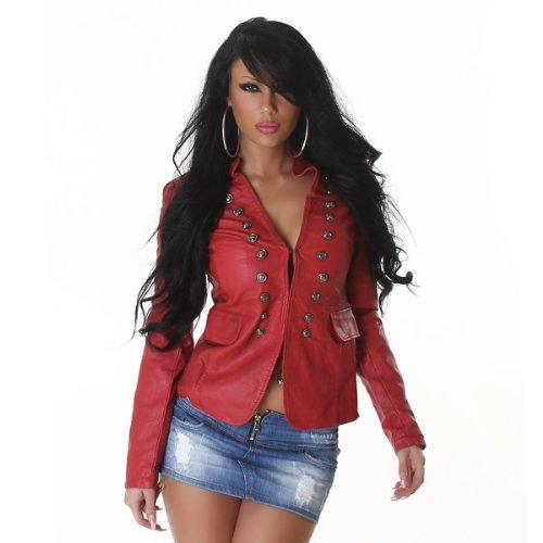La veste militaire aspect cuir (3B010) Rouge