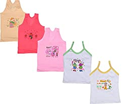 IndiWeaves Girls Pure Cotton Cartoon Print Slips/Vests (Pack of 5)_Multiple_4-6 Years