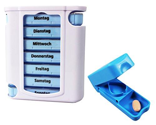 com-fourr-7-tage-medikamentendosierer-blau-weiss-set-inklusive-1-tablettenteiler