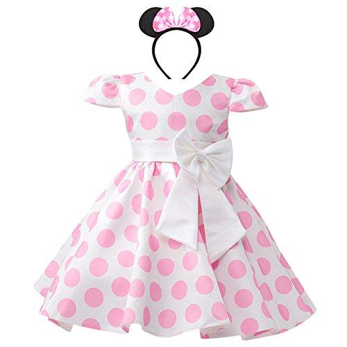 IWEMEK Säuglings Kleinkind Baby Mädchen Prinzessin Tüll Kleid Polka Dot Ballettkeider Trikot Tanzkleider Weihnachten Karneval Cosplay Kleid mit Maus Ohren Bowknot Partykleid Outfits Rosa 5 ()