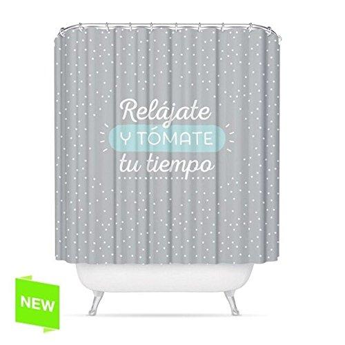 """dcasa - Cortina de baño original diseño frase """"RELAJATE"""" poliester 180 x 200cm"""