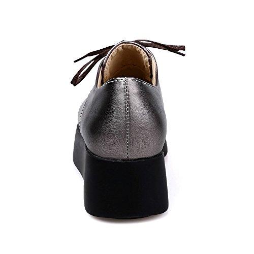 Prata Couro De Pontas Agoolar Senhoras De Bombas Baixo De Toe Salto Puramente Sapatos Pu Laço De nIBIfTwSq