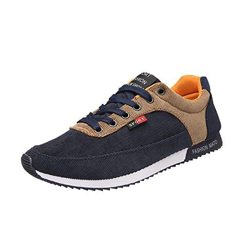 Oasap Homme Casual Sneakers Couleur Bloc A Lacet Canevas Gris