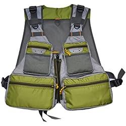mdstop Daiwa-Cormoran–Chaleco de pesca con mosca Outdoor Sport–Chaleco Safari, caza, pesca, con muchos bolsillos para camping
