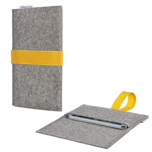 Tablet Tasche AVEIRO mit Filzdeckel und Gummiband für Blaupunkt Endeavour 1100 - Schutz Case Etui Sleeve Filz Made in Germany hellgrau gelb - passgenaue Tablethülle für Blaupunkt Endeavour 1100