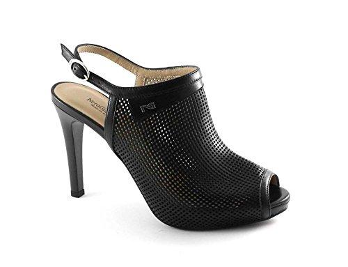 NERO GIARDINI 17373 nero scarpe donna sandali tacco forate spuntate cinturino Nero