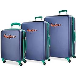 Juego de maletas Pepe Jeans Bristol Azul rígidas 55-67-79cm